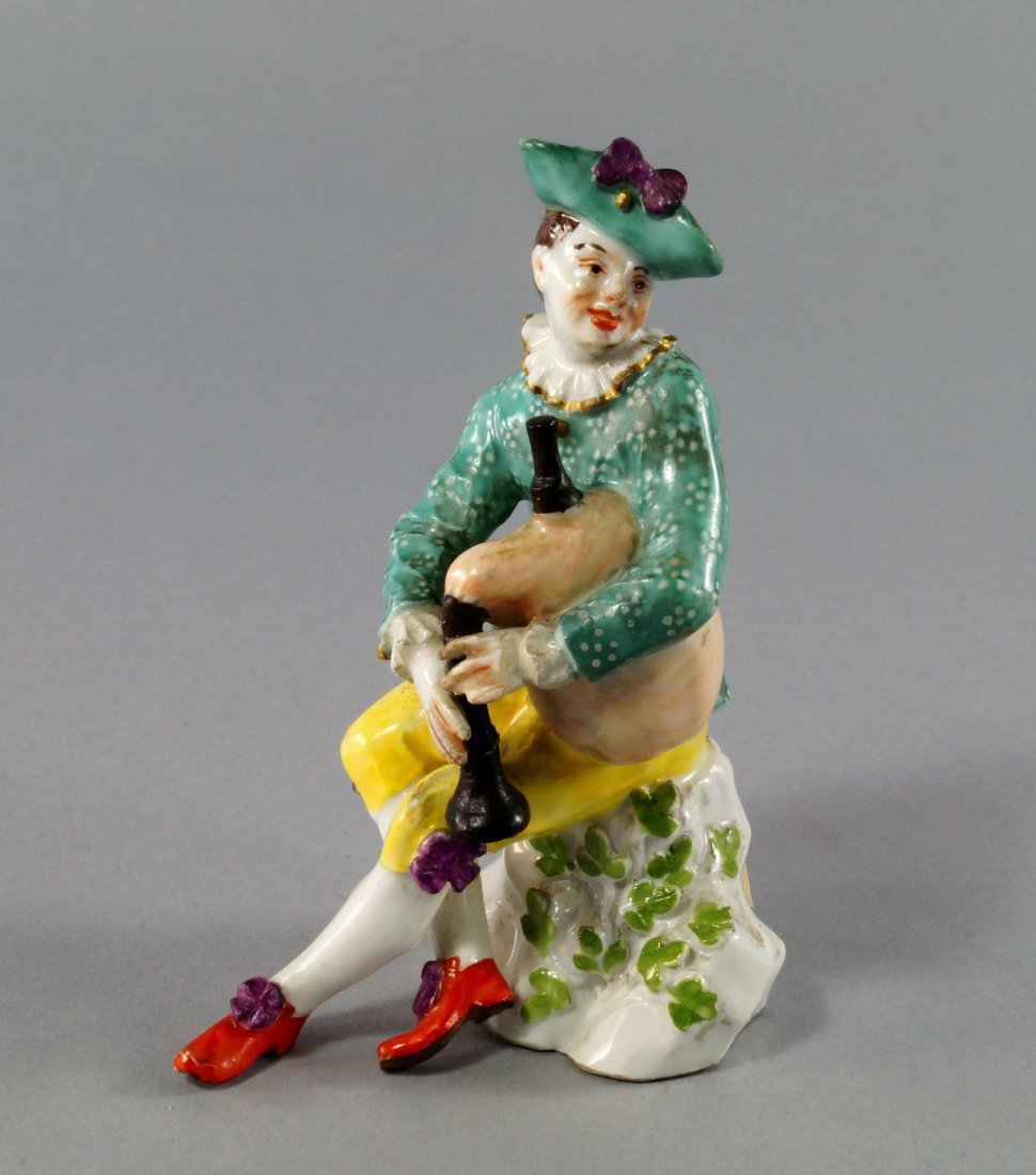 A Meissen model of a bagpiper, 18th century, probably