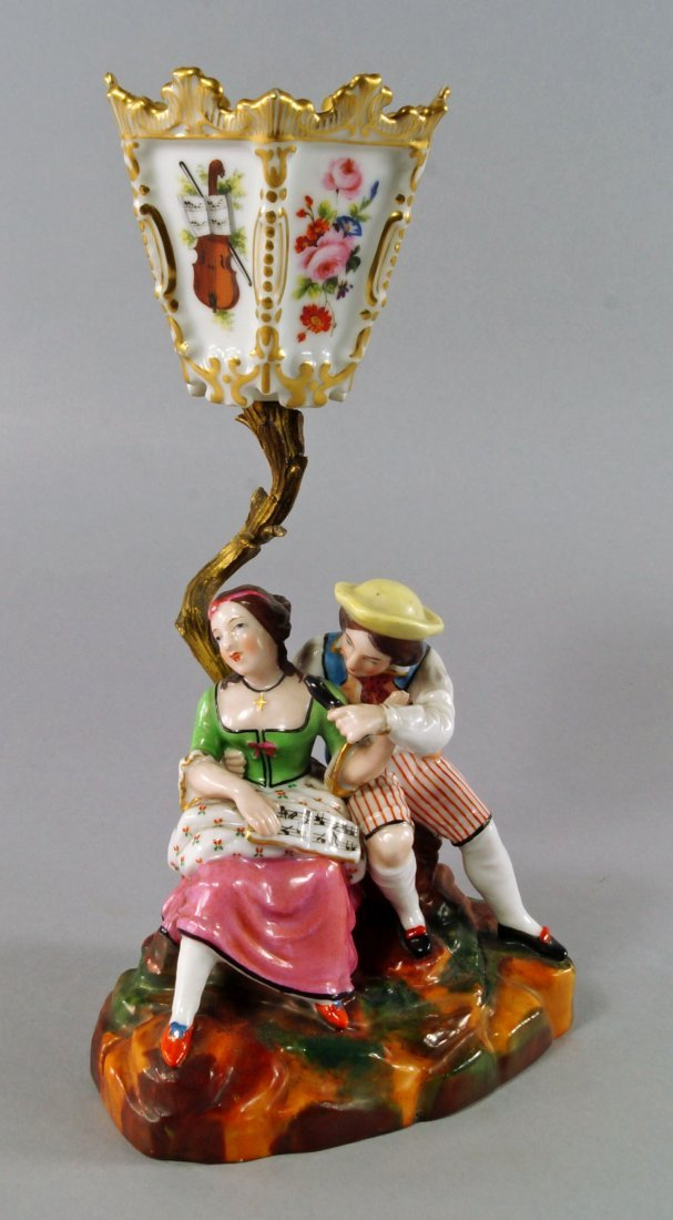 A Continental porcelain lamp, late 19th/early 20th