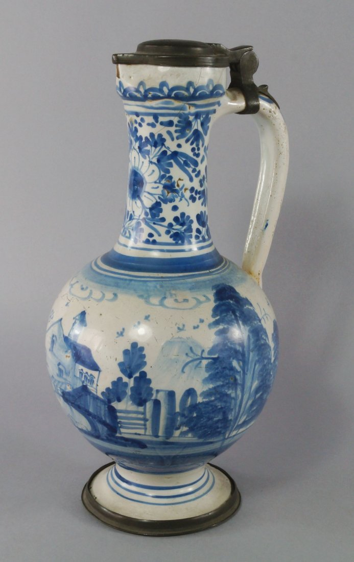 A Dutch delft and pewter mounted ewer, late 17th