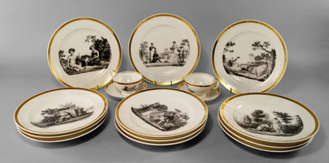 A Paris porcelain part tea/coffee service, 19th