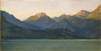 Harry F Van der Weyden, American 1868-1952- Sun setting