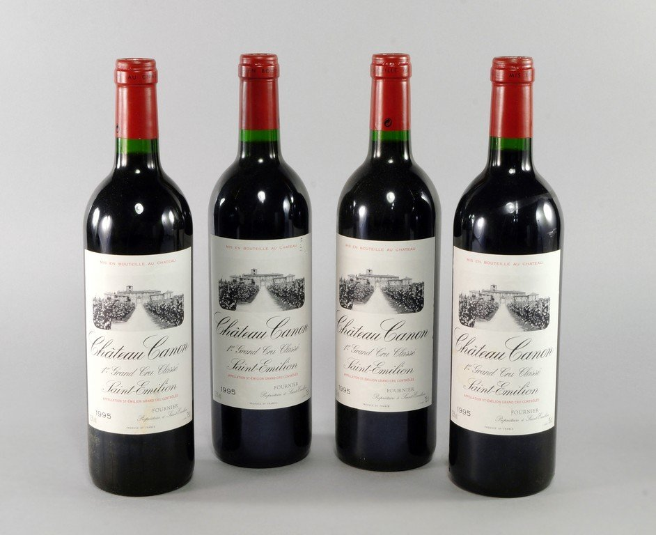 Four bottles of Chateau Canon, 1er Grand cru classe,