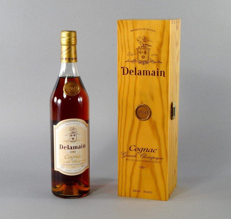 A bottle of Delamain Cognac 1969, in wooden