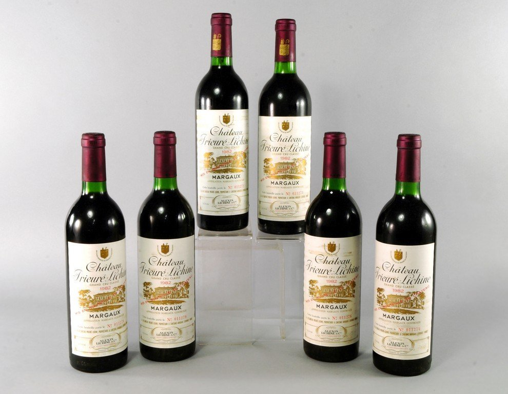 Six bottles of Chateau Prieure Lichine 1982 Grand Cru,