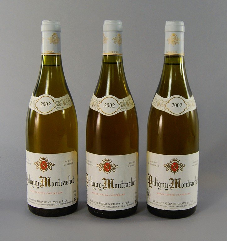 Three bottles of Puligny Montrachet 2002, Domain Gerard