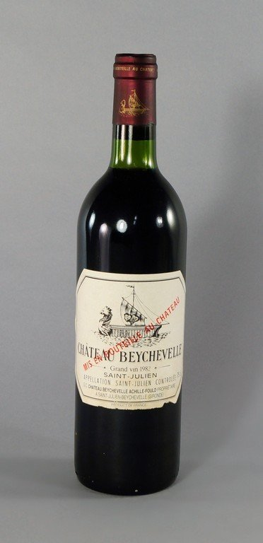 A bottle of Chateau Beychevelle 1982, ullages to bottom