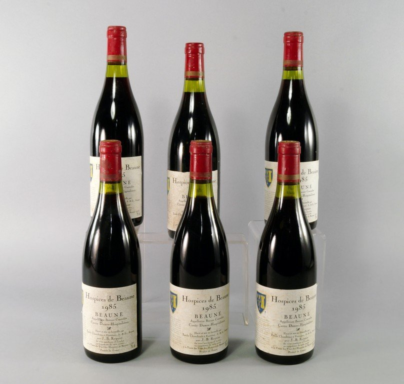 Six bottles of Hospices de Beaunne 1985, ullages to