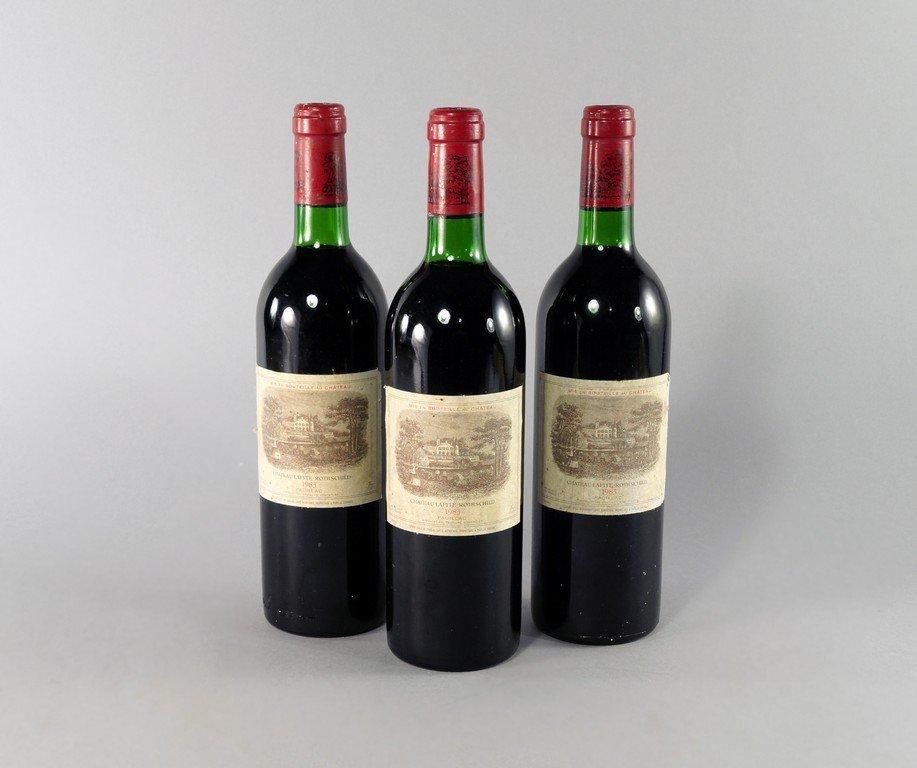 Three bottles of Chateau Lafite Rothschild 1983,