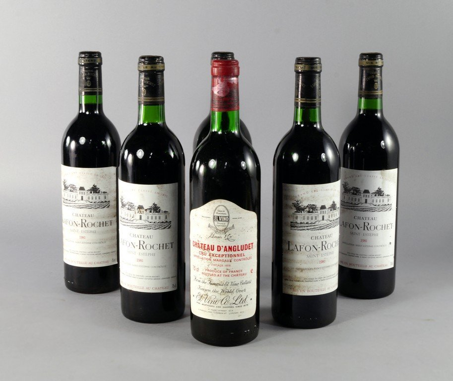 Five bottles of Lafon-Rochet 1981, ullages to lower