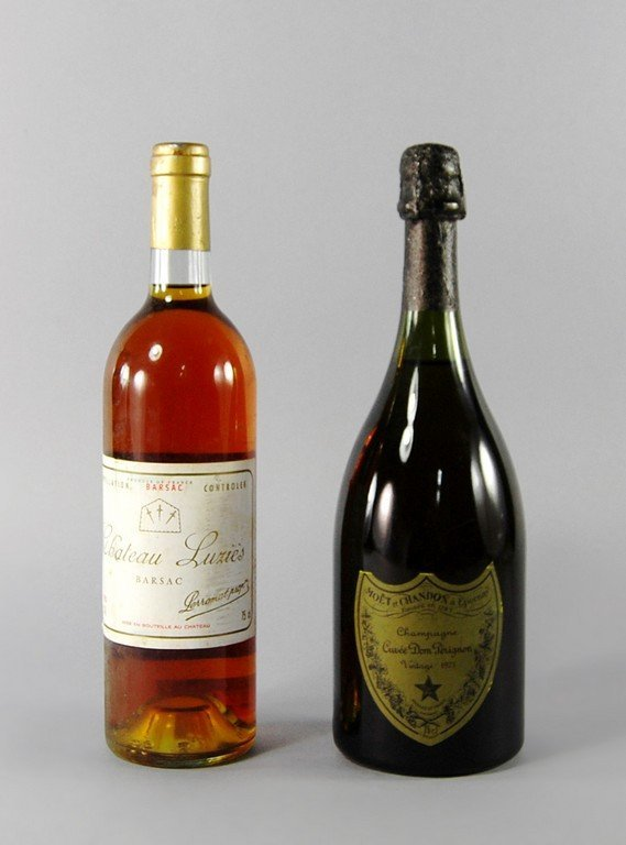 A bottle of Dom Perignon 1973, ullage to high top,
