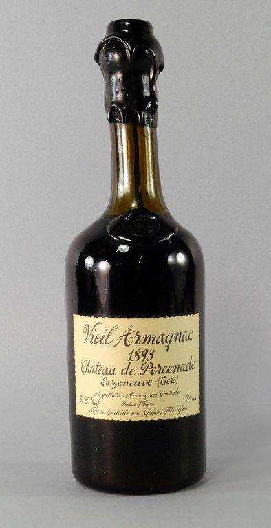 A bottle of Vieil Armagnac 1893 Chateau Percenade,