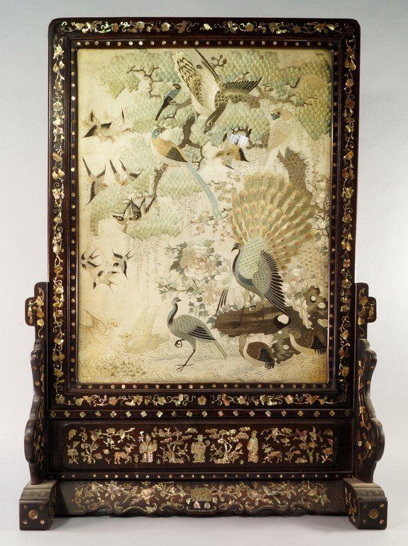 A Chinese rosewood table screen set with silk panel,