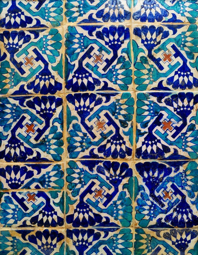 A Multan tile panel, Northern India, late 15th century,