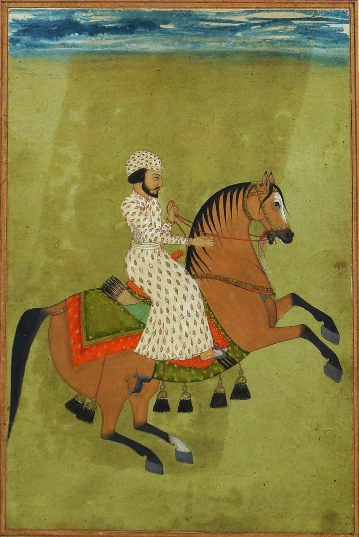 An Indian miniature painting of a horseman, 18th/19th