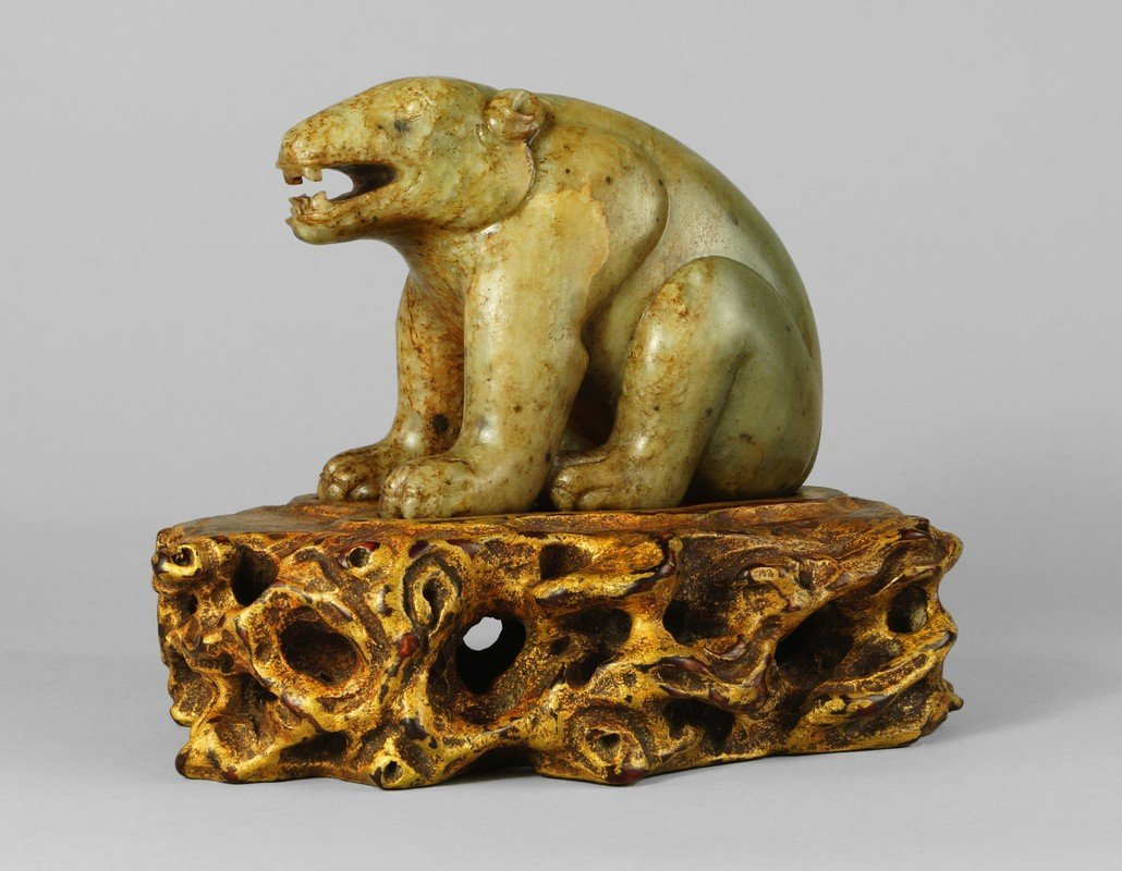 A fine and large Chinese jade bear, Ming Dynasty, the