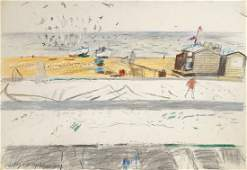 Philip Thompson, British 1928-2007- Coastal beach scene;