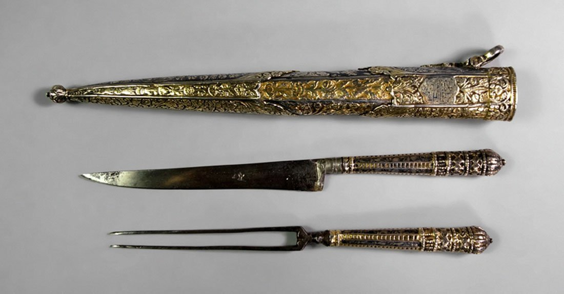 An Ottoman travelling knife and fork set, Turkey, 18th