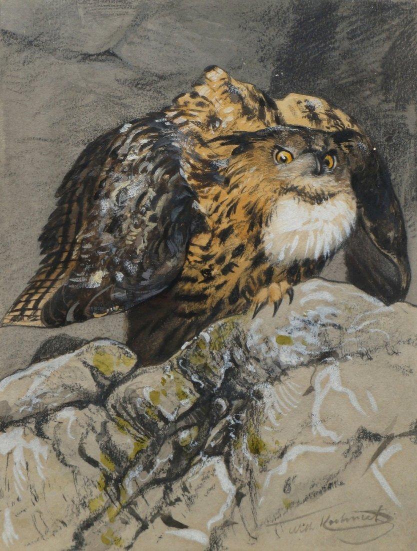 Wilhelm Kuhnert, German 1865-1926- Eagle Owl in