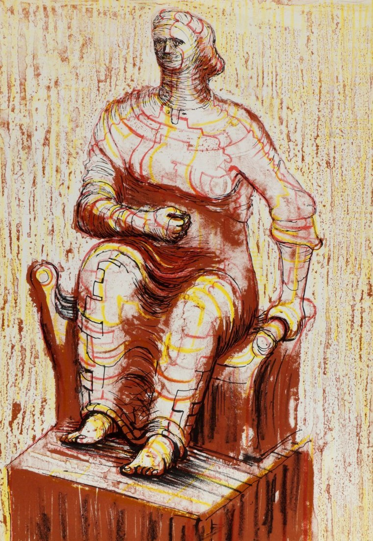 Henry Moore OM CH FBA RBS, British 1898-1986-  ''Seated