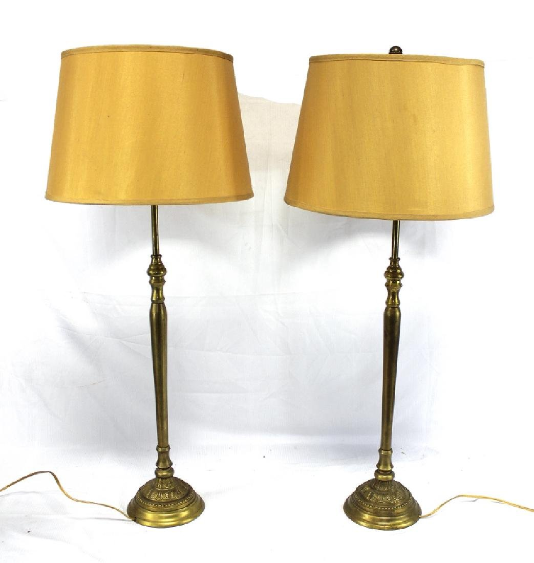 Pair of Tall Brass Table Lamps