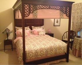 queen size rosewood canopy bed with curtain set
