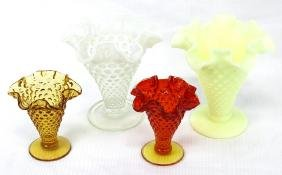 Lot of 4 Fenton Hobnail Vases