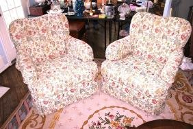 Pair of Club Chairs, By Wesley Hall Inc.