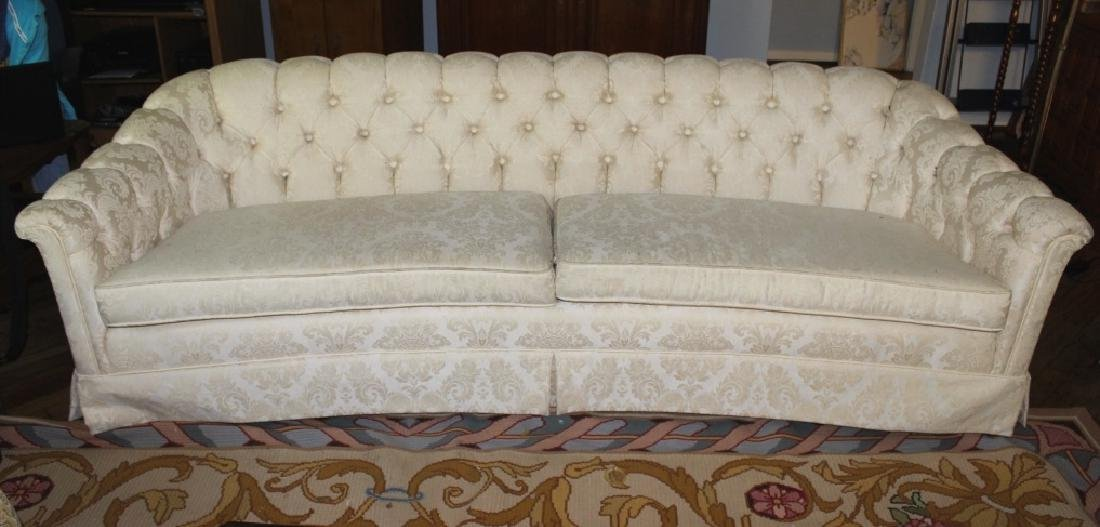 White Upholstered Button Tufted Sofa