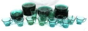 Lot of Teal Swirl Blown Glass Dishes