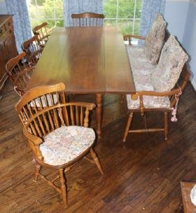 Drop Leaf Dining Table with Five Chairs and One Be