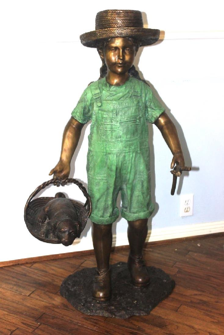 Little Girl with Basket and Puppy, Brass Statue