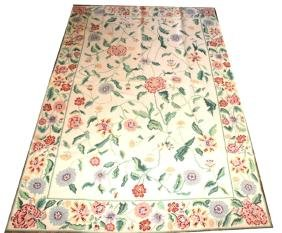 Handmade Floral Print Pinpoint Rug, Made in Portug