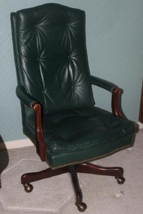 Green Leather Button Tufted Office Chair on Caster
