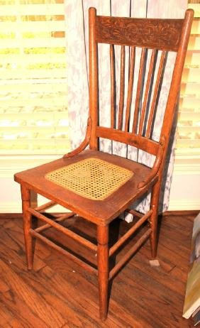 Antique Oak Chair with Cane Seating
