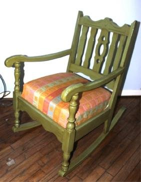 Antique Rocking Chair, Painted Green, with Cushion