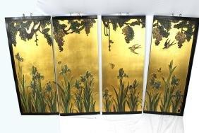 Set of 4 Carved Guilt Leaf Hanging Panels