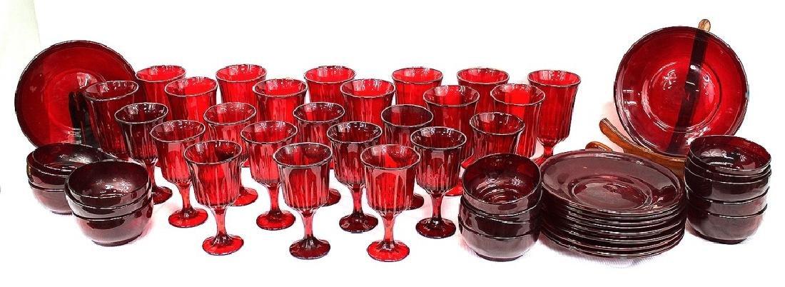 Cranberry glass dinnerware set