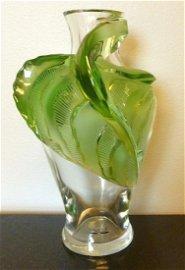 """Lalique France """"Tanega"""" Green Leaf Crystal Vase"""