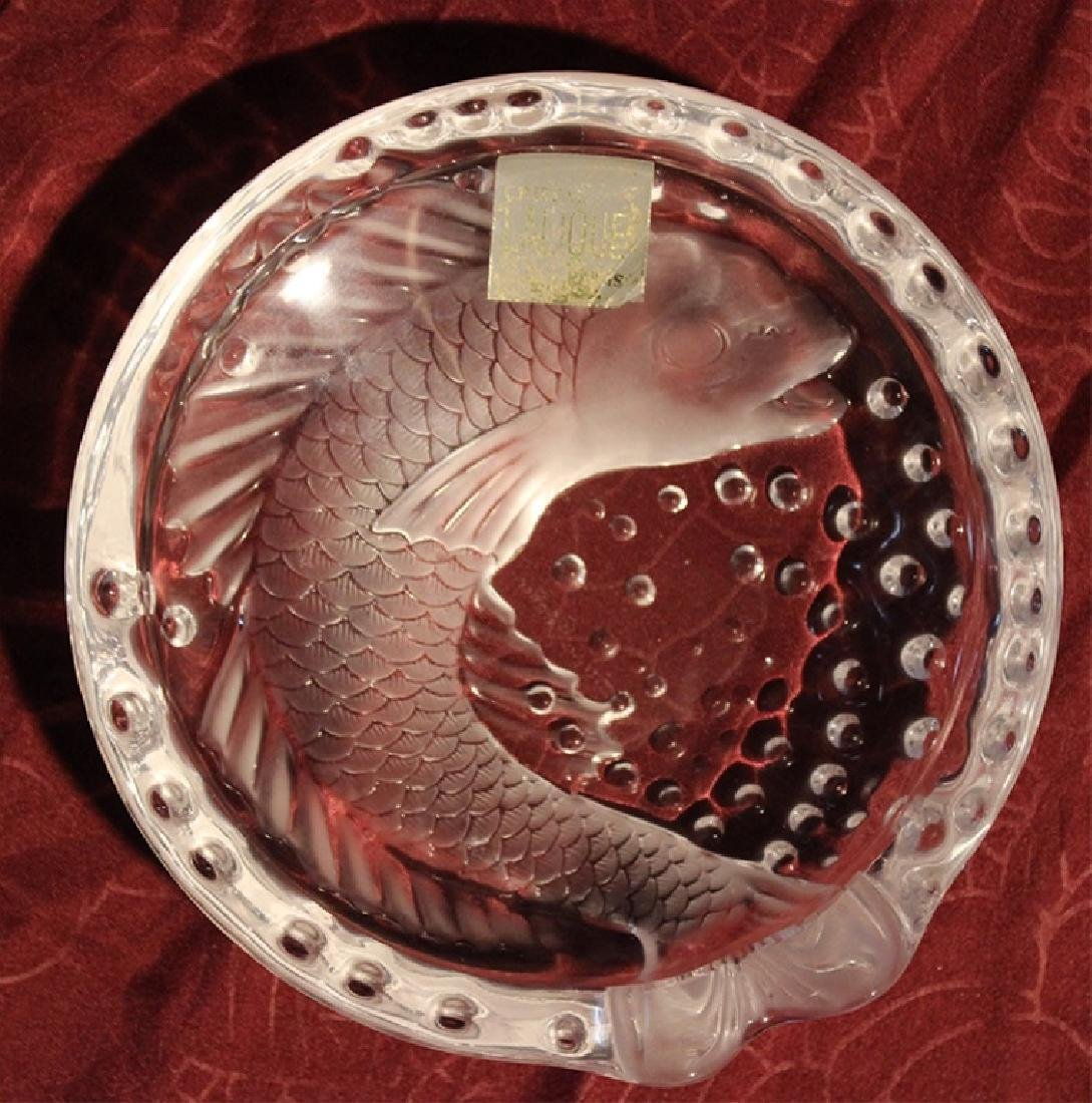 Lalique France Crystal Koi Fish Cigar Ashtray