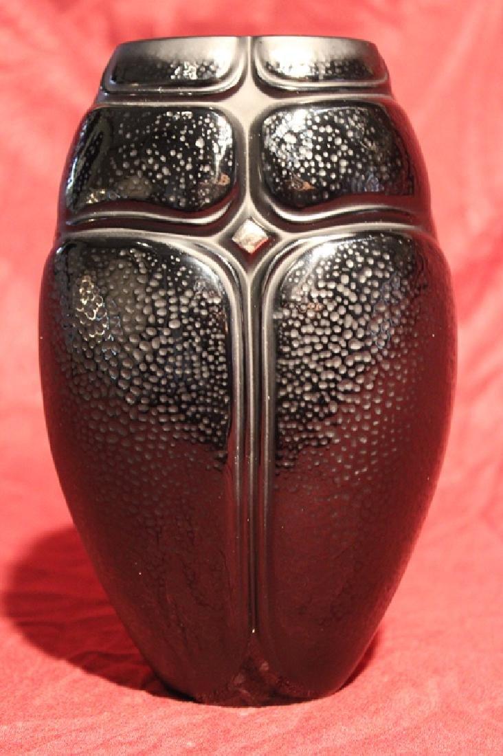 Lalique France Crystal Black Scarab Vase