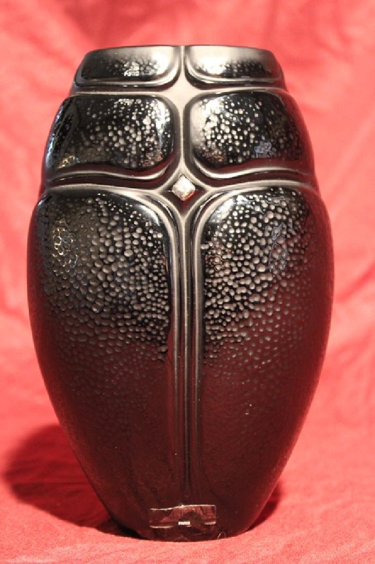 Lalique France Crystal Black Scarab Vase - 2