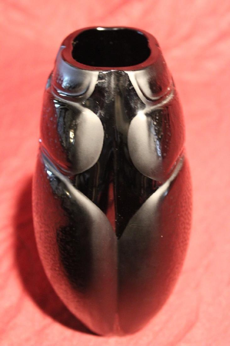 Lalique France Crystal Black Scarab Vase - 6