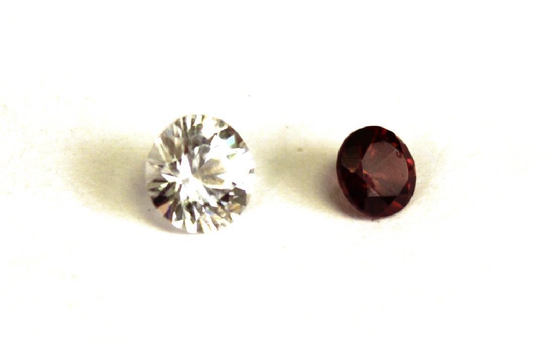 1.50 CT MIN 7.5MM White Zircon, .90 CT 6MM Red Zir - 2