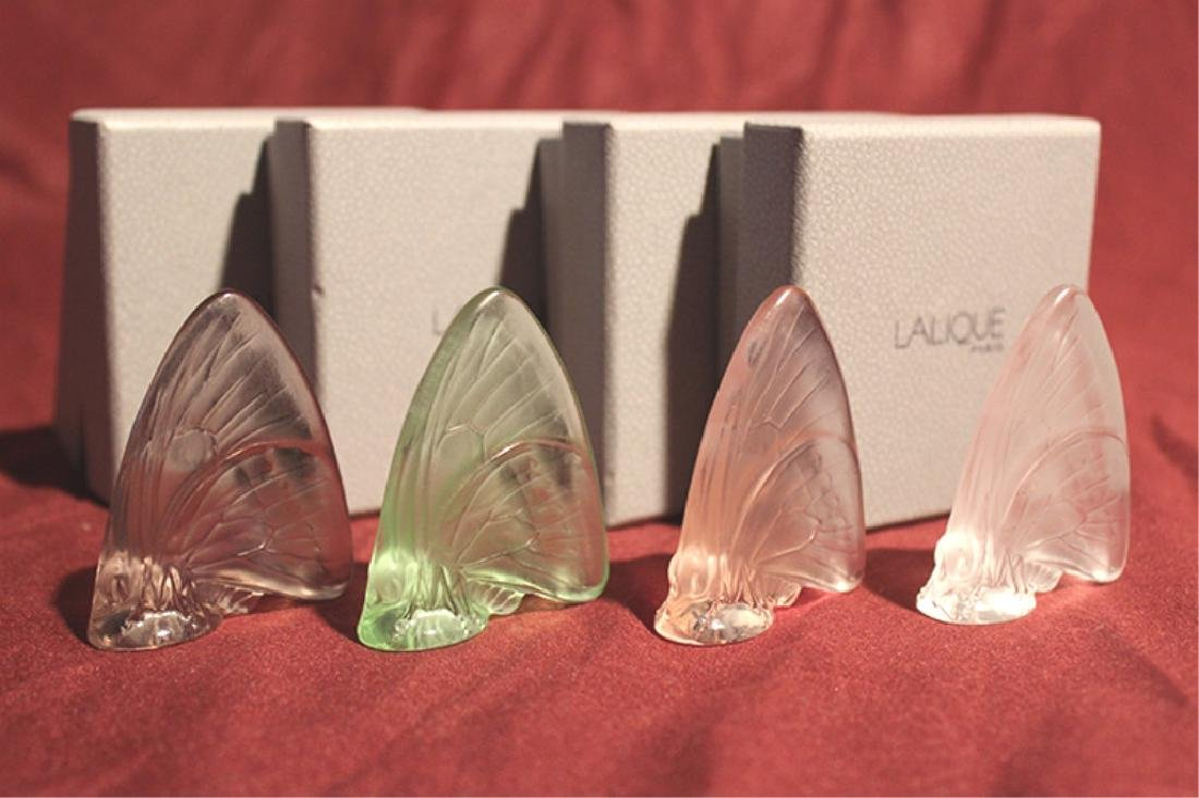 Set of 4 Lalique Crystal Butterflies