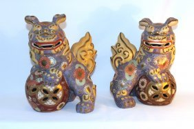 Pair Of Porcelain Guardian Lions Or Foo Dogs