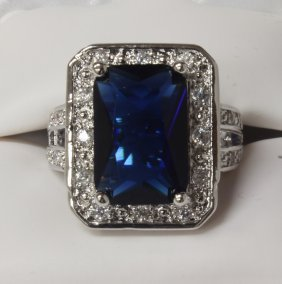 6 Ct. Sapphire Dinner Ring Set In Sterling Silver.