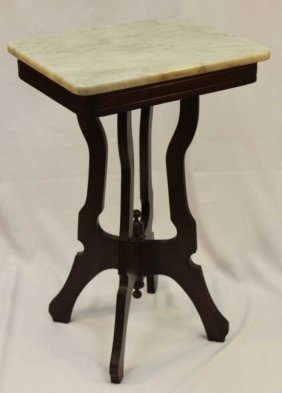 Antique Wood Side Table With White Marble Top