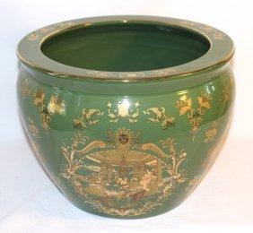Round Green Chinese Jardiniere
