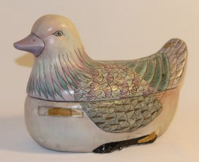 Painted Bird Lidded Container