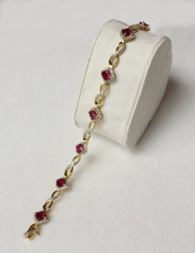 Ruby And Diamond Bracelet Set In Sterling Silver.